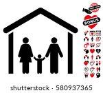 family cabin icon with bonus... | Shutterstock .eps vector #580937365