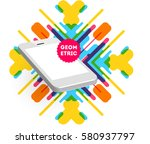 mobile phone icon with trendy... | Shutterstock .eps vector #580937797
