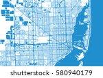 vector city map of miami ... | Shutterstock .eps vector #580940179