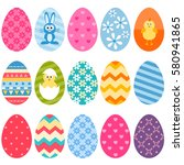 set of fifteen colorful easter...   Shutterstock .eps vector #580941865