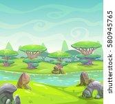 fantasy nature landscape.... | Shutterstock .eps vector #580945765
