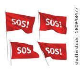 sos   red vector flags. a set... | Shutterstock .eps vector #580948477