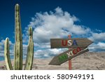 desert sign for mexico and the... | Shutterstock . vector #580949191