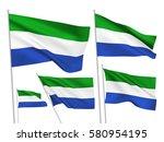 sierra leone vector flags set.... | Shutterstock .eps vector #580954195