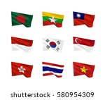 vector flags  south asia... | Shutterstock .eps vector #580954309