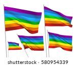 rainbow vector flags. a set of... | Shutterstock .eps vector #580954339
