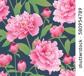 elegance seamless color peony... | Shutterstock .eps vector #580954789