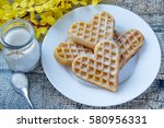 Belgian Heart Shaped Waffle On...