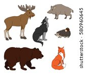 set of various cute animals ... | Shutterstock .eps vector #580960645