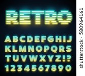 glowing neon tube font. retro... | Shutterstock .eps vector #580964161