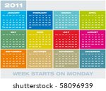 colorful calendar for year 2011 ... | Shutterstock .eps vector #58096939