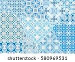 vector patchwork quilt pattern. ... | Shutterstock .eps vector #580969531