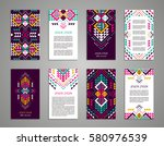 Aztec style colorful vertical flyer set. American indian ornate pattern design. Front and back pages. Ornamental collection with ethnic motifs. Tribal decorative template. EPS 10 vector concept. | Shutterstock vector #580976539