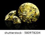 shiny white yellow sapphire .3d ... | Shutterstock . vector #580978204