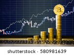 Stock photo financial growth concept with golden bitcoins ladder on forex chart background photo new virtual 580981639