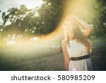 beautiful girl with a hat...   Shutterstock . vector #580985209