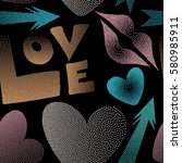 painted love elements seamless... | Shutterstock . vector #580985911