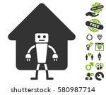 home robot pictograph with...   Shutterstock .eps vector #580987714