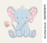 Cute Elephant With A Flower...