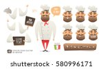 cartoon hipster chef character... | Shutterstock .eps vector #580996171