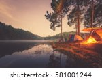 Blured image of camping and...