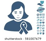 girl with sympathy ribbon icon... | Shutterstock .eps vector #581007679