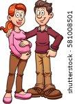 cartoon pregnant couple. vector ... | Shutterstock .eps vector #581008501