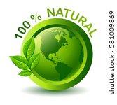 vector green 100  natural label | Shutterstock .eps vector #581009869