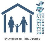 family cabin icon with bonus... | Shutterstock .eps vector #581010859