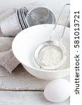 Small photo of bowl with flour and eggs