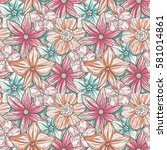 hand drawn pattern with... | Shutterstock .eps vector #581014861