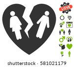 broken family heart pictograph... | Shutterstock .eps vector #581021179