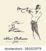 new orleans jazz poster. man... | Shutterstock .eps vector #581022979