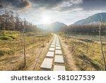 sunset in the woods corridor | Shutterstock . vector #581027539