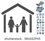 family cabin icon with bonus... | Shutterstock .eps vector #581032945