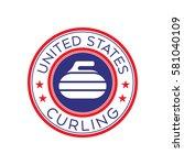 an american curling crest in... | Shutterstock .eps vector #581040109