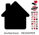 house pictograph with bonus... | Shutterstock .eps vector #581044909