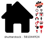 home pictograph with bonus... | Shutterstock .eps vector #581044924