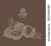 background with lichee. hand... | Shutterstock .eps vector #581046589