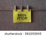 Small photo of Best Price text on a yellow sticky note with three clips