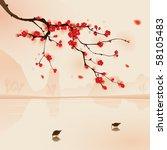 oriental style painting  plum...