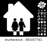family house icon with bonus... | Shutterstock .eps vector #581057761
