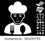 cook pictograph with bonus... | Shutterstock .eps vector #581059795