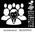 crowd pictograph with bonus... | Shutterstock .eps vector #581059945