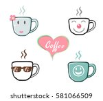 coffee cup with steam.... | Shutterstock .eps vector #581066509
