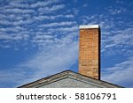 Old School Brick Chimeney On A...