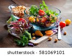 chickpea and veggies salad with ... | Shutterstock . vector #581069101