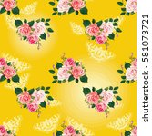 seamless floral pattern with... | Shutterstock .eps vector #581073721