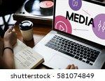music streaming media... | Shutterstock . vector #581074849