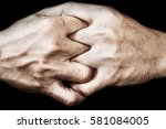 Small photo of hand of man join together on black, adherence concept
